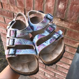 Bikenstock Papillio 4 buckle wrap floral sandal